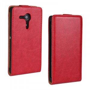 Чехол вертикальная книжка на пластиковой основе с магнитной застежкой для Sony Xperia SP Красный