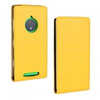 Чехол вертикальная книжка на пластиковой основе для Nokia Lumia 830 Желтый