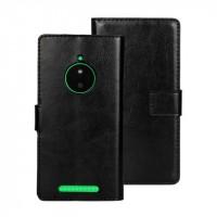 Глянцевый чехол портмоне подставка с защелкой для Nokia Lumia 830 Черный