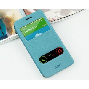 Чехол флип подставка на силиконовой основе с окном вызова и свайпом на присоске Samsung Galaxy Grand Prime Голубой