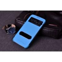 Чехол флип с окном вызова и свайпом для Samsung Galaxy Core Advance Голубой