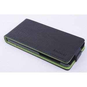 Чехол вертикальная книжка на силиконовой основе с магнитной застежкой для Lenovo S660 Черный