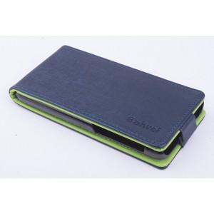 Чехол вертикальная книжка на силиконовой основе с магнитной застежкой для Lenovo S660 Синий