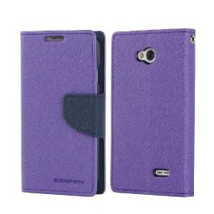 Текстурный чехол флип с дизайнерской застежкой для LG L70 Фиолетовый
