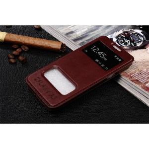 Чехол флип подставка глянцевый с окном вызова и свайпом для Samsung Galaxy A3 Бордовый