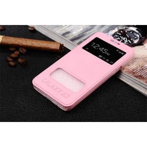 Чехол флип подставка глянцевый с окном вызова и свайпом для Samsung Galaxy A3 Розовый
