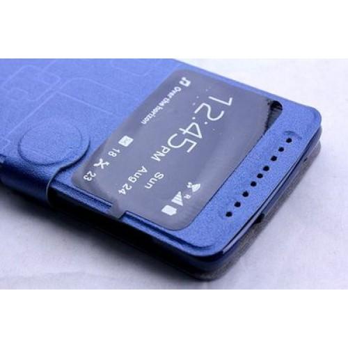 Текстурный чехол флип подставка с застежкой и окном вызова для Acer Liquid Z500 Синий