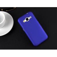 Пластиковый матовый непрозрачный чехол металик для Samsung Galaxy Core Prime Синий