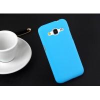 Пластиковый матовый непрозрачный чехол металик для Samsung Galaxy Core Prime Голубой