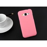 Пластиковый матовый непрозрачный чехол металик для Samsung Galaxy Core Prime Розовый