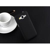Пластиковый матовый непрозрачный чехол металик для Samsung Galaxy Core Prime Черный