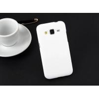 Пластиковый матовый непрозрачный чехол металик для Samsung Galaxy Core Prime Белый