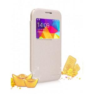 Чехол флип на пластиковой матовой нескользящей премиум основе с окном вызова серия Colors для Samsung Galaxy Core Prime