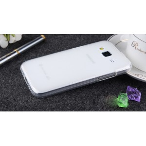 Силиконовый матовый полупрозрачный чехол для Samsung Galaxy Core Prime Белый
