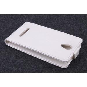Клеевой чехол вертикальная книжка с магнитной застежкой для Fly IQ4415 Quad Era Style 3 Белый