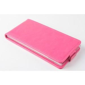 Чехол вертикальная книжка на силиконовой основе с магнитной застежкой для Fly IQ4516 Tornado Slim Octa Розовый