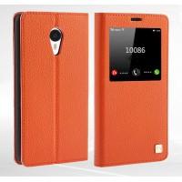 Чехол кожаный с окном вызова и подставкой для Meizu M1 Note Оранжевый