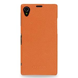 Кожаный чехол накладка (нат. кожа) серия Back Cover для Sony Xperia Z1 Оранжевый