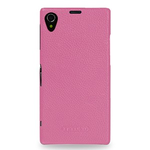 Кожаный чехол накладка (нат. кожа) серия Back Cover для Sony Xperia Z1 Розовый