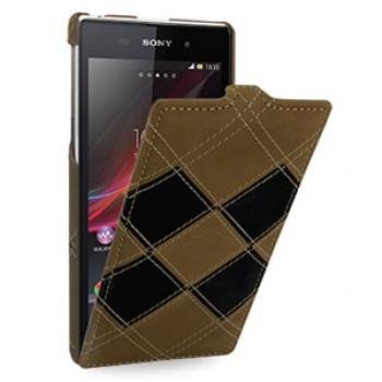 Эксклюзивный кожаный чехол вертикальная книжка (премиум нат. кожа двух видов ручного пошива) для Sony Xperia Z1