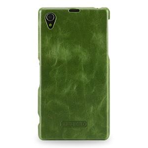 Кожаный чехол накладка Back Cover (нат. вощеная кожа) для Sony Xperia Z1 Зеленый