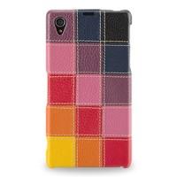 Эксклюзивный кожаный чехол накладка Back Cover (премиум нат. кожа трех видов ручного пошива) для Sony Xperia Z1