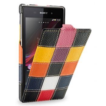 Эксклюзивный кожаный чехол вертикальная книжка (премиум нат. кожа трех видов ручного пошива) для Sony Xperia Z1