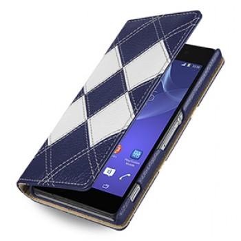 Эксклюзивный кожаный чехол портмоне (премиум нат. кожа двух видов ручного пошива) для Sony Xperia Z2