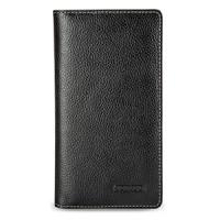 Эксклюзивный кожаный чехол портмоне (премиум нат. кожа) на кожаной основе для Sony Xperia T2 Ultra (Dual) Черный