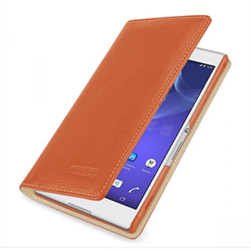 Эксклюзивный кожаный чехол портмоне (премиум нат. кожа) на кожаной основе для Sony Xperia T2 Ultra (Dual)