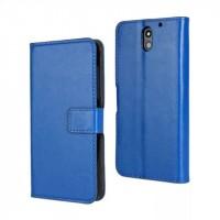 Чехол портмоне подставка на пластиковой основе с защелкой для HTC Desire 610 Синий