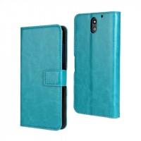 Чехол портмоне подставка на пластиковой основе с защелкой для HTC Desire 610 Голубой