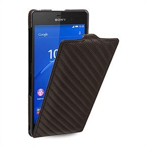 Эксклюзивный кожаный чехол вертикальная книжка (премиум нат. кожа) с дизайнерским поверхностным тиснением для Sony Xperia Z3