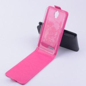 Чехол вертикальная книжка с магнитной застежкой для Alcatel One Touch Idol 2 mini Пурпурный