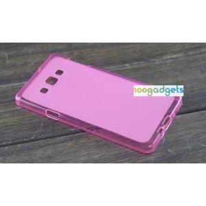Силиконовый матовый полупрозрачный чехол для Samsung Galaxy A7 Розовый