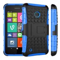Силиконовый чехол экстрим защита с функцией подставки для Nokia Lumia 530 Синий