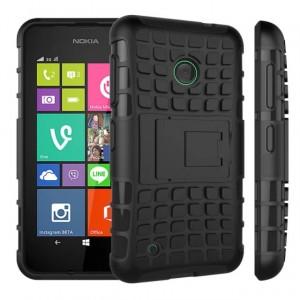 Силиконовый чехол экстрим защита с функцией подставки для Nokia Lumia 530 Черный