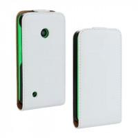Чехол вертикальная книжка на пластиковой основе с магнитной застежкой для Nokia Lumia 530 Белый