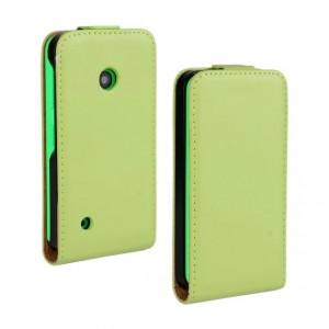 Чехол вертикальная книжка на пластиковой основе с магнитной застежкой для Nokia Lumia 530 Зеленый