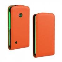 Чехол вертикальная книжка на пластиковой основе с магнитной застежкой для Nokia Lumia 530 Оранжевый