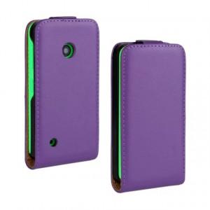 Чехол вертикальная книжка на пластиковой основе с магнитной застежкой для Nokia Lumia 530 Фиолетовый