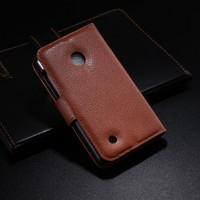Чехол портмоне подставка с защелкой для Nokia Lumia 530 Коричневый
