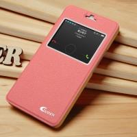Чехол смарт флип подставка текстурный с окном вызова для Huawei Honor 6 Plus Розовый