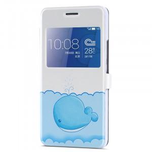Дизайнерский принтованный чехол флип с окном вызова и подставкой для Huawei Honor 6 Plus