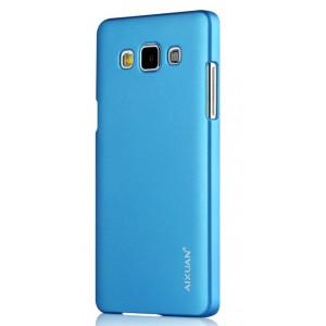 Пластиковый матовый металлик чехол для Samsung Galaxy A7 Голубой