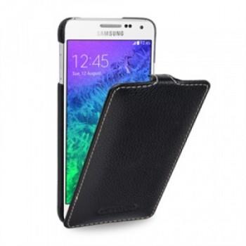 Кожаный чехол вертикальная книжка (нат. кожа) для Samsung Galaxy Alpha