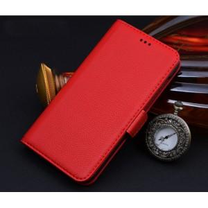 Кожаный чехол портмоне подставка (нат. кожа) для Philips V387 Xenium Красный