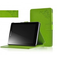 Чехол флип подставка на поликарбонатной основе с узорным тиснением и магнитной защелкой для планшета Lenovo IdeaTab A5500 Зеленый
