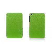 Чехол флип подставка текстурный на поликарбонатной основе с магнитной защелкой для Lenovo IdeaTab A5500 Зеленый