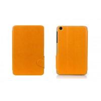 Чехол флип подставка текстурный на поликарбонатной основе с магнитной защелкой для Lenovo IdeaTab A5500 Оранжевый